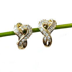 18kt Yellow Gold Round And Baguette Cut Diamond Earrings
