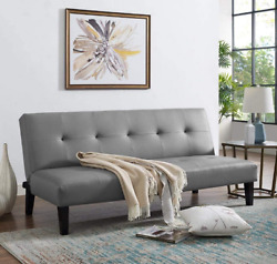 8Futon Sofa Flat Bed Couch Dorm Furniture Gray Leather Apt Armless Reclining New
