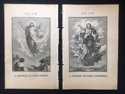 Catholic Art - Lot Of 2 Book Plates / Engraving - Ascension And Assumption