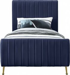 Contemporary Bedroom Furniture Navy Velvet Fanric 1piece Twin Size Padded Bed