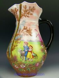 Huge 1891 Limoges Hand Painted Boy Girl Dog Roses And Scenic 13.5 Tankrd Pitcher