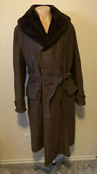 Sterling Outdoor Clothing Vintage Mens Brown Leather And Shearling Lined Coat Xl