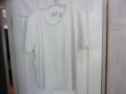 Alfred Dunner Size XL Pull Over Casual Top Short Sleeve White Stretch Beads Neck $5.99