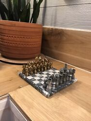Custom Mini Chess Set Marble Board Grey/clear With Metal Pieces Brass/ Pewter