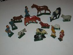 Grey Iron American Family On The Farm, Vintage Cast Iron Figures, Train Layout
