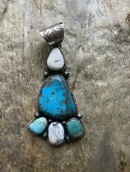 Native American Sterling Silver Turquoise Pendant.