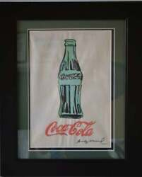 Signed Original Andy Warhol Stamped On Verso Coke Framed Watercolor On Paper