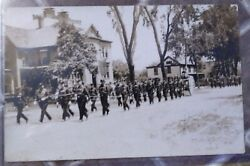 Rppc Firemen Parade With Rare Wooden Horse Drawn Chariot Fire Engine Pumper.
