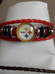 🇺🇲🏈 Nfl Jewelry Gift Leather Bracelet Football Nfl Red Pittsburgh Steelers