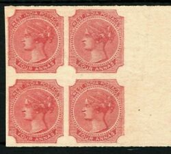 India Qv Stamp Proof/colour Trial/essay 4a Red 1866 Marginal Block 4 Rare Ss38