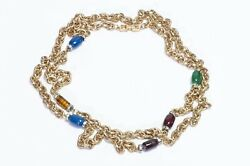 Givenchy Paris Gold Plated Green Blue Red Purple Glass Crystal Chain Necklace