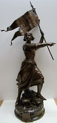 Adrien Gaudez Joan Of Arc With Flag Lg. Bronze Antique French Casting Ex. Cond