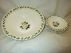HALL CAMEO ROSE SERVING BOWL AND FOUR BERRY BOWLS