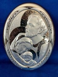 Italian Pressed Sterling Silver Holy Family Icon Plaque An Ag