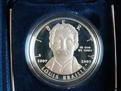 2009 P Louis Braille Bicentennial Silver Dollar Proof Coa And Ogp [br1]