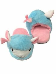 Girls Plush Blue And Pink Llama Slippers Scuffs House Shoes Slides
