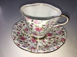 Clarence Fine Bone China Cup And Saucer Pink Floral Made In England