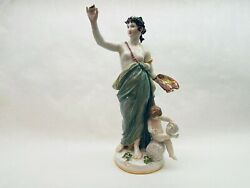 Meissen Porcelain Artist And Child Large Tall Rare Figurine Muse