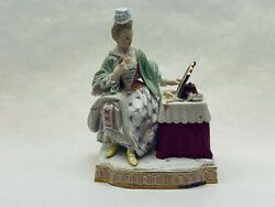 Meissen Lady At Vanity Dressing Table Exquisite Collectible Antiqueandnbsp