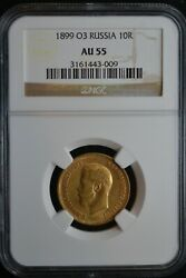 1899 O3 Russia 10 Rouble Gold 1/4 Oz Coin Ngc Au55 3161443-009