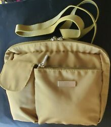 BAGGALLINI Crossbody Shoulder Nylon Purse Bag Green w Pink Lining Travel Small $10.00