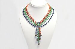 Vintage 1950's Blue Green Red Orange Glass Beads Crystal Collar Necklace