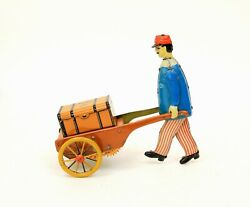 Vintage Stock Germany Jim The Walking Trollyman Tin Wind-up Baggage Porter Toy