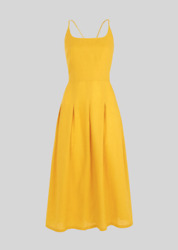 Whistles - Duffy Linen Strappy Dress - Yellow - New With Tag - Size 12