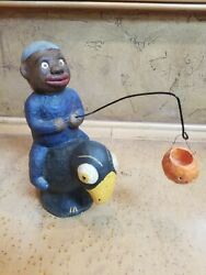 Antique/vintage Heavy Composition Boy On Crow Holding Pumpkin Candy Container