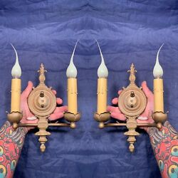 Antique Brass Wired Wall Sconces Pair Electric Candles Petite Wall Lights 99e
