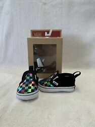 Vans Off The Wall Baby Girls Black Iridescent Checkerboard Crib Shoes size 1 C