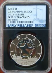 2015 P Silver Us Marshals Service Proof Dollar Ngc Pf70 Ultra Cam Early Release
