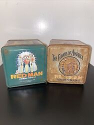 Lot Of 2 Vintage Red Man Chewing Tobacco Limited Edition Tin Canisters 1900's