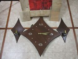 Vintage Mid Century Danish Modern Style Wall Clock W/ Candle Holders Eames Era