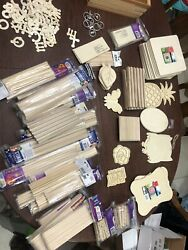 Huge Lot Wooden Cutouts Dowels Clothespins Picture Frames Craft Sticks