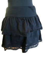 Max amp; Co Mini Skirt Angela Black Layered Lace Trim Side Zip Size 4