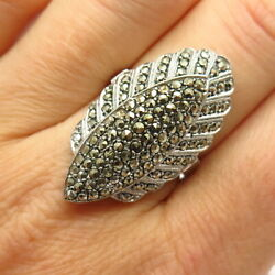 925 Sterling Silver Antique Real Marcasite Gem Art-deco-style Wide Ring Size 7