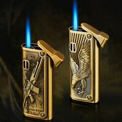 Emboss Eagle Gun Torch Lighter Waterproof Refillable Gas Lighters Unique Leather
