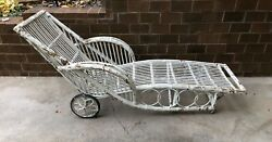 Rare Antique 1920s Bamboo Chaise Lounge Chair With Wheels Elegant Glamour