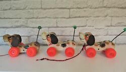 1965 Lot Of 3 Fisher Price Little Snoopy Dog Pull Along Toy Wood Wagging Tail