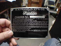 Franklin Patent And Data Plate 1901 - 1934 Acid Etched Aluminum