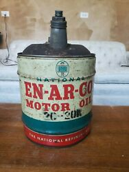 Vintage National En-ar-co 5 Gallon Oil Can With Handle