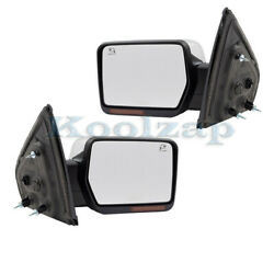09-10 F150 Rear View Door Mirror Power Folding W/signal And Puddle Lamp Set Pair