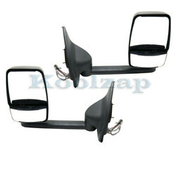 99-05 F-super Duty And Excursion Long Arm Rear View Towing Mirror Power Set Pair