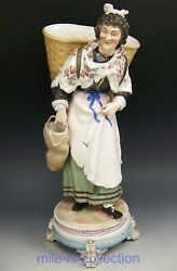 Lovely Meissen Crossed Swords Figurine 13.5 Lady With Baskets