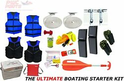 Pwc Parts Ultimate Boating Starter Kit W Neoprene Life Vests Dock Lines Ropes 2x