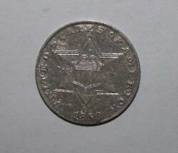 1858 3 Cent Silver Coin Xc2