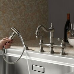 Brass Bridge Dual Handles Kitchen Faucet With Pull-out Side Spray Brushed Nickel