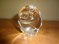 Vtg Steuben Crystal Clear Wise Owl Signed Paperweight Hand Cooler
