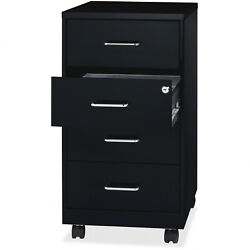 Modern Metal 4 Drawer Mobile File Cabinet Black With Top Locking Home Office